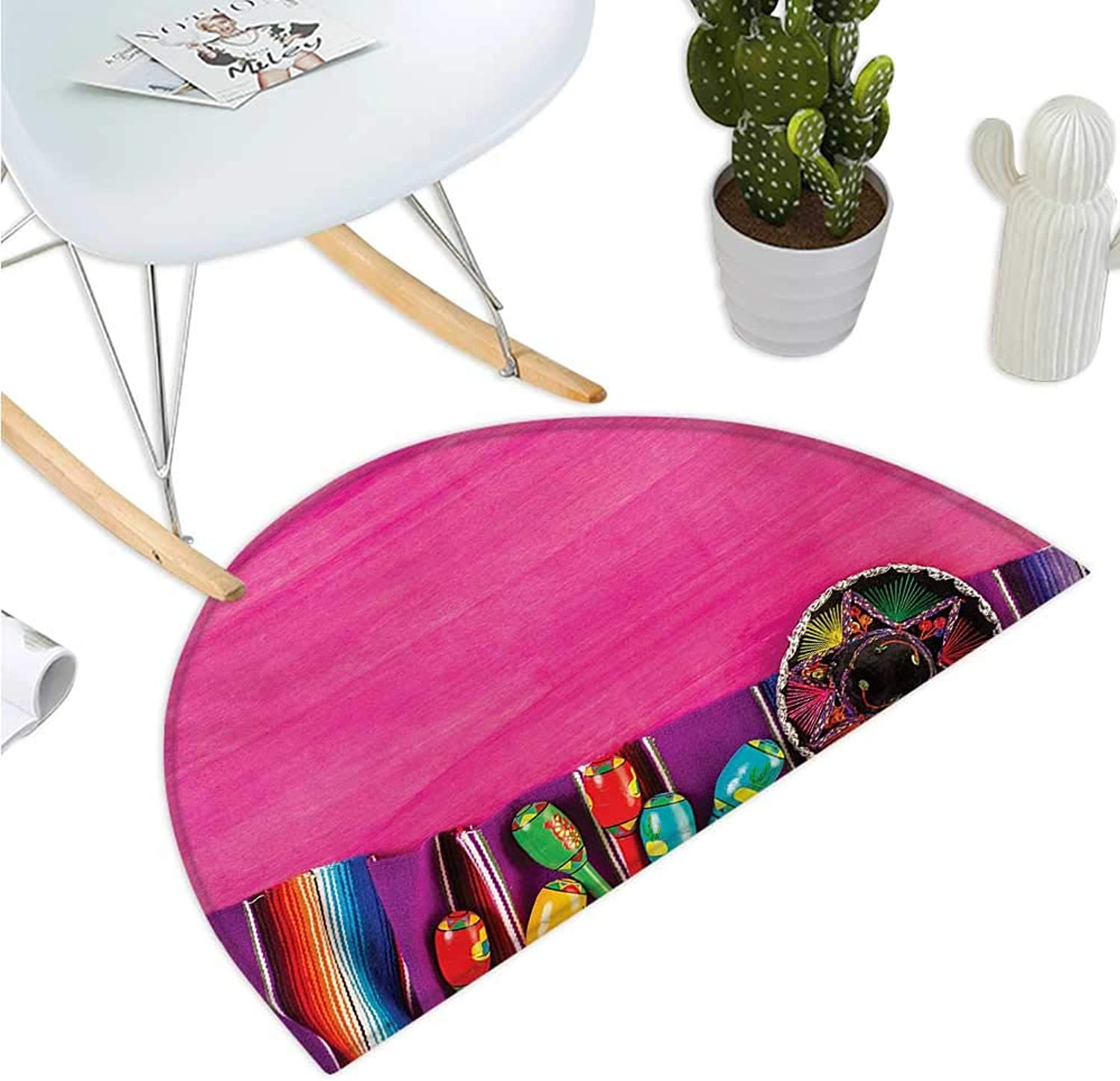 Mexican Semicircle Doormat View of Folkloric Serape Blanket Charro and Music Instruments Cultural Elements Entry Door Mat H 39.3  xD 59  Fuchsia Purple