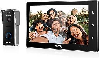 TMEZON Visiophone Interphone Sonnette, IP WiFi 10 Pouce Moniteur Écran Tactile 720P Sonnette de Caméra Filaire Intercom Po...