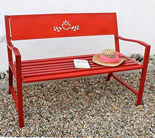 DanDiBo Bank Passion Gartenbank Rot 2 Sitzer 121496 Sitzbank 120 cm Metall Eisen Blumenbank Garten