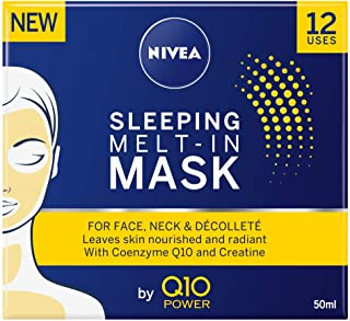 Máscara facial NIVEA Q10 Power Sleeping Mel-in antienvejecimiento con poder antiarrugas de Coenzima Q10 y creatina, 50 ml