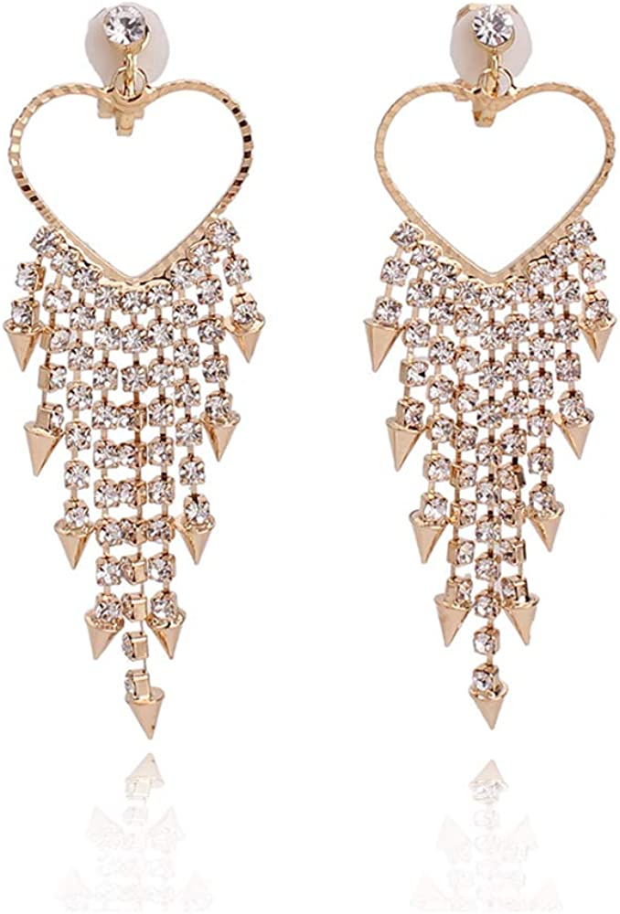 HAPPYAN High-grade Rhinestone Crystal Tassel Clip on Earrings No Pierced for Women Party Wedding Ear Clip
