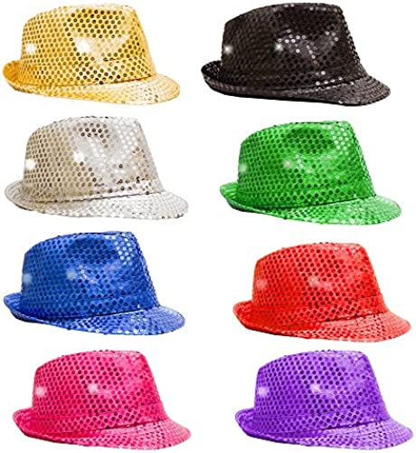 Fun Central O993 LED Light Up Sequin Fedoras - Assorted Farbes 12ct