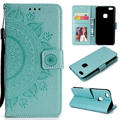 Handyhülle für Huawei P10 Lite Hülle Leder Schutzhülle Brieftasche mit Kartenfach Magnetisch Stoßfest Handyhülle Case für Huawei P10 Lite - XIHOH010938 Grün