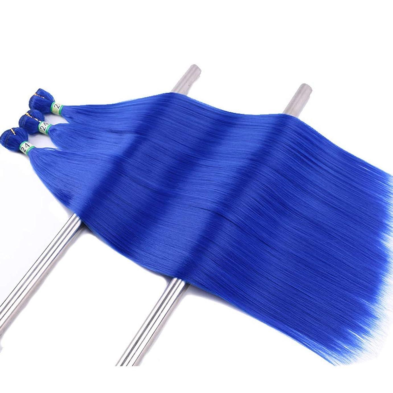 トレーニング入植者空かつら 3バンドルブルーストレート人工毛ウィーブヘアカーテン16インチ100グラム/バンドルかつらパーティーかつら (色 : 青, サイズ : 14 inch)