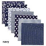 Tela de algodón 25x25cm DIY Práctico 7pcs / Set Moda Patchwork Impreso Tela de algodón Costura Acolchado Telas Ropa de muñeca, Azul marino