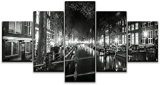 Skipvelo 5 Panels Wall Canvas Prints Pictures, Panoramic View of Amsterdam, red Light District Wall Paintings Wall Decor Stretched and Framed Ready to Hang