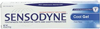 Sensodyne Toothpaste for Sensitive Teeth and Cavity Prevention, Maximum Strength, Cool Gel, 4-Ounce Tubes (Pack of 8)