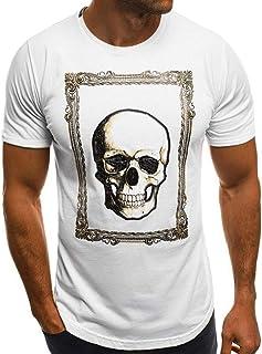 メンズ 半袖 Tシャツ Hanaturu(ハナツル) おもしろ 髑髏 柄プリント トップス ファッション カジュアル 丸首 ストリート系 彼氏 プレゼント 創意デザイン 旅行 撮影 カッコイイ オシャレ 白 大きいサイズ 夏 カットソー