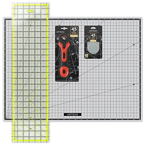 Arteza Kit de corte de telas con cutter circular + 1 reglas + alfombrilla +...