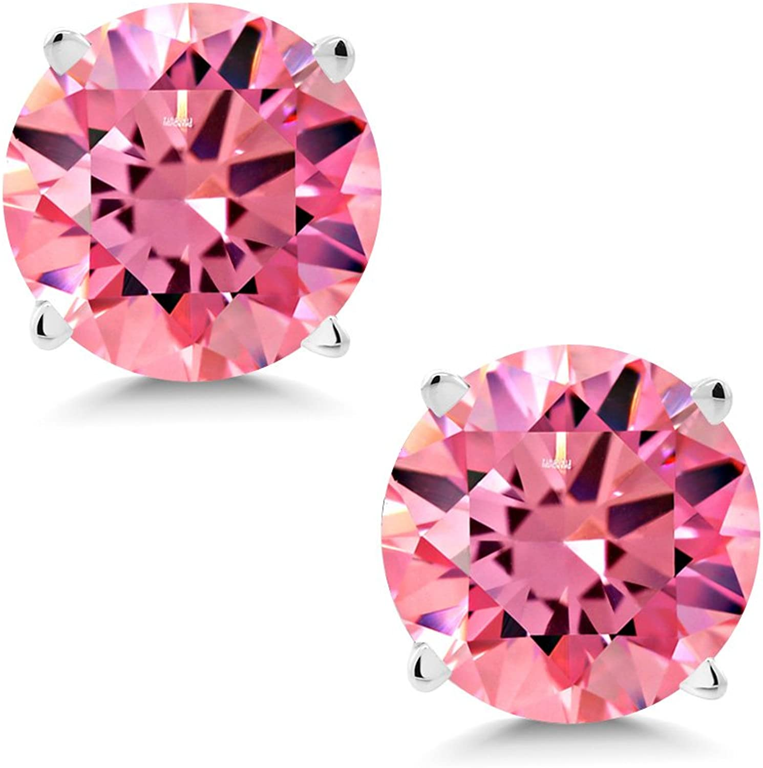 1.68 Ct Fancy Pink 14K White gold Earrings Made With Swarovski Zirconia