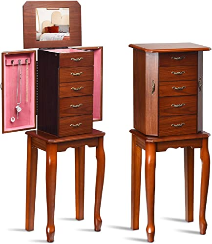 high quality CHARMAID Standing Jewelry Cabinet Jewelry Armoire with 4 Drawers and Top Organizer Compartment, Top Flip Mirror, Jewelry Storage Chest Box with 2 Side outlet online sale Doors and 6 Necklace new arrival Hooks online