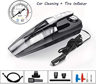 Car Vacuum Cleaner,Handheld Vacuum,Portable Vacuum Cleaner for Car,YUVEYI High Power 4.5KPA Corded 4 in 1 with LED Light Tire Pressure Measuring Inflator Wet Dry Travel Car Cleaning