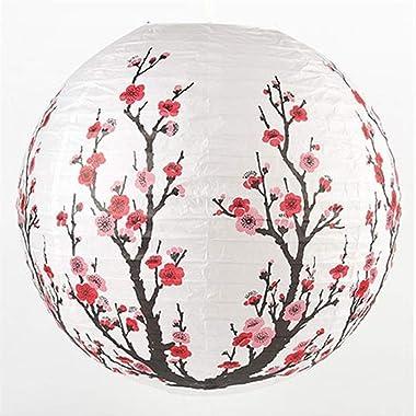 PMWLKJ Chinois Traditionnel Bambou Plum Blossom Papier Lanterne Abat-Jour Décor Oriental One Size Rouge