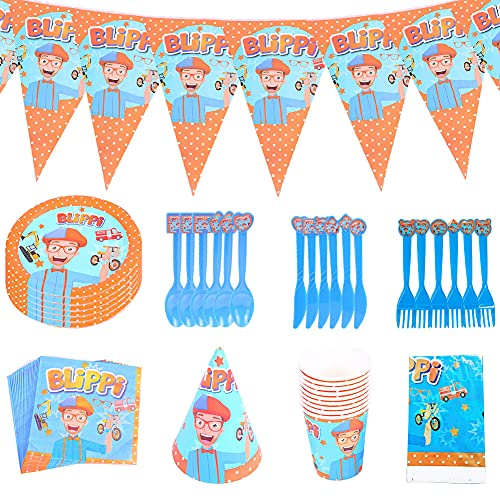 Blippi Birthday Party Supplies,CYSJ 82pcs Piece Decoration for Birthday Party Sets, Supplies Birthday Decorations Party Pack for Kids, Including Blippi Birthdays Banner, Plates, Napkins, Table Cloth