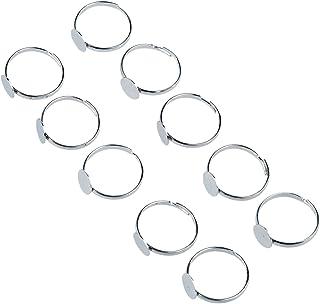 SODIAL(R) 10 x Anello in Argento Metallico 8 Millimetri Base Regolabile