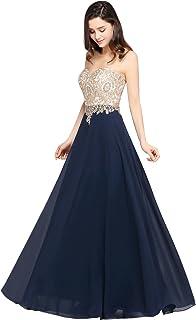 MisShow Damen Elegant Chiffon A-Linie Lang Abendkleider Brautjungfernkleider Applique Abschlusskleid Maxilangkleid Gr.32-46