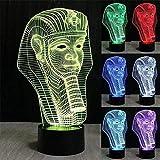 HJW-CD 3D Ägypten Ägyptische Pharaonen Nachtlicht Lampe 7 Farbwechsel LED Touch USB Tisch Geschenk...