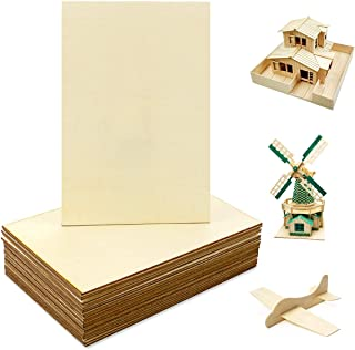 WYKOO 24 Pack Wood Sheets, Basswood Thin Wood Wood Plywood Hobby Wood Board for DIY Crafts Christmas Wooden House Airplane...