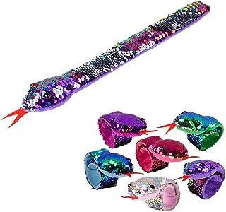 Mozlly Reversible Rainbow Flip Sequin Snake Slap Bracelets, 11 Inch Magical Jewelry For Girl Kid For Stocking Basket Stuff...