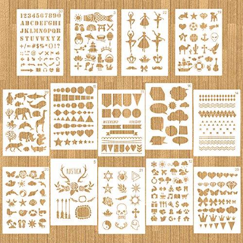 HOWAF 16 Stück Zeichnungs Schablonen,Wiederzuverwendend Kunststoff Schablonenvorlagen Set für Bullet Journals, DIY-Scrapbooking, Malerei, Zeichnen, Bastelzubehör,12.7 * 17.8cm