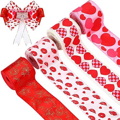 Paquete de 4 cintas de borde con cable de San Valentín, cinta con patrón de corazones, cinta con patrón de corazón para envolver arcos de flores de corona, 2.5 pulgadas x 20 yardas