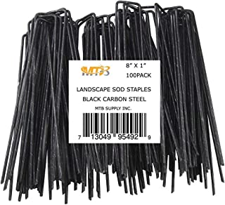 MTB 100 Pack 8x1 inch 11GA(0.12inch) Sod Staples Garden Pins Netting Stakes Ground Spikes Landscape Cover Pegs Carbon Steel Black
