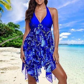 HIIHHIIHI بدلة استحمام مقاس كبير، ملابس سباحة صيفية للنساء للشاطئ طباعة مثيرة غير منتظمة حاشية هالتر ثوب سباحة مبطن للسيدا...