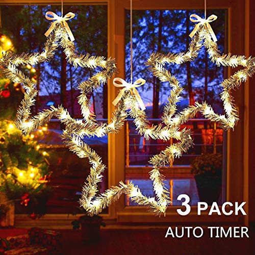 MAOYUE Christmas Window Lights 3 Pack Christmas Star Lights with Snow Pine Leaves Battery Operated Christmas Lights for Outdoor Christmas Decorations, Window, Indoor, Door, Porch, Party, Warm White