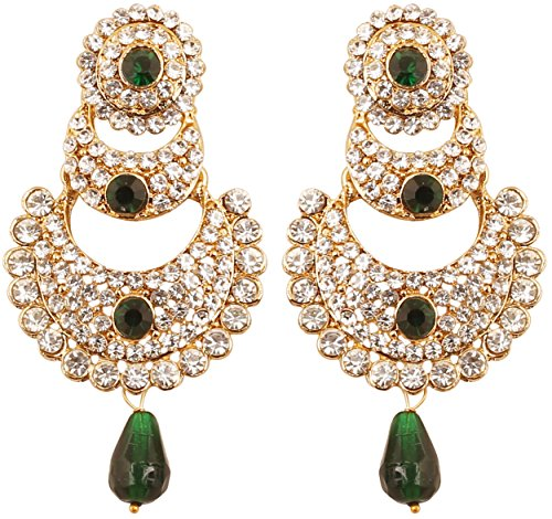 Touchstone Orecchini candelieri gioielli di design indiano bollywood bianco e smeraldo chaand bali moon designer gioielli per donna Verde