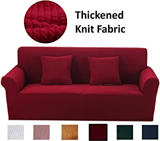 Argstar Thickened Premium Couch Cover, Thick Sofa Cover, Sofa Cover, Slipcover Couch Covers for Living Room 3 Seaters, Couch Covers for Sofa, Slip Covers for Furniture Sofa, Wine Red