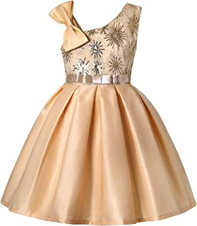 Fulision Girl Sequin Sleeveless Solid Color Kids Bridesmaid Prom Ball Wedding Party Dresses