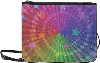 Abstract Bright Rainbow And Stars Magic Vintage Style Pattern Custom High-grade Nylon Slim Clutch Bag Cross-body Bag Shoulder Bag