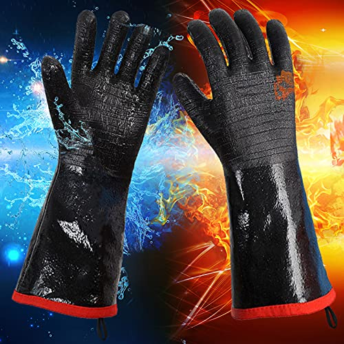 Insulated BBQ Gloves for Smokers, Fryers, Hot Food, Water & Oil Proof Flame Retardant with Neoprene Coating (14″)