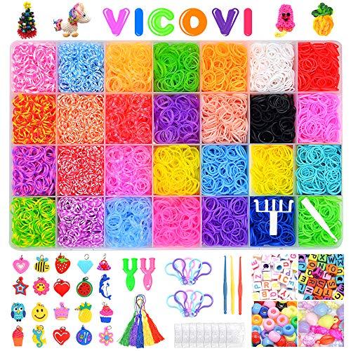 VICOVI 11900+ Colorful Rubber Bands Refill Kit with 11000 Bracelet Bands Loom Bracelet Making Kit for Kids Girls Gift