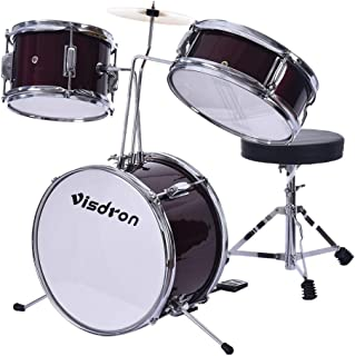 Mostbest 2-in-1 Children Musical Instrument Electronic Rock Roll Jazz Drum Kit Set with Stool Ideal Gift Toy for Kids, Teens, Boys & Girls