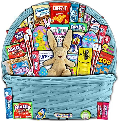 Blue Easter Basket for Kids and Adults 40ct Already Filled Easter Gift Basket with Plush Easter product image