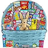 Blue Easter Basket for Kids and Adults (40ct) - Already Filled Easter Gift Basket with Plush Easter Bunny, Candy, Snacks, and Toys - Boys, Girls, Grandchildren, Young Children, Toddlers, Men, Women