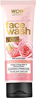 WOW Skin Science Himalayan Rose Face Wash Tube for Cleansing Toning Infused with Rose Water Beetroot Extract for All Skin ...