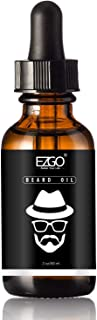 EZGO Beard Oil Leave-in Conditioner and Softener, Beard Growth, Mustache, Face and Skin, Unscented Beard Oil, 2oz