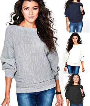 Kikole Round Neck Long Sleeve Solid Knitted Boat Neck Women's Sweater
