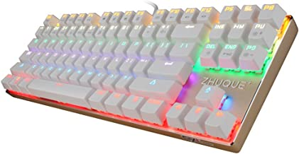 Team Wolf [CIY] [ Swappable Switch ] [ Customize Switches ] Mechanical Keyboard, Mix Color Led Backlit, 7 Light Modes 87 Keys Wired Gaming or Office Keyboard--Blue Switch