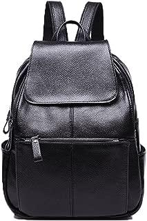 NIGEDU Women Backpacks Simple Genuine Leather Backpack School Bag Large Travel Bag (Black)