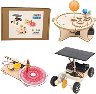 GeeMaker STEM Toys Science Experiment,DIY 3in1 Wooden Mechanical Model,3D Building Craft Electric Motor Assembly Kit,Solar...
