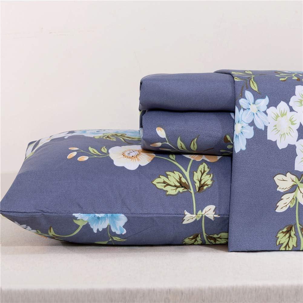 MEISHANG Sheet Set Queen Floral Sheets Printed Sheets Ultra Soft 100% Microfiber-Deep Pocket Fitted Sheet+Flat Sheet+Pillowcases-4 Pieces Blue Flower Queen
