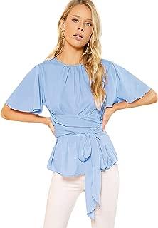 Women's Self Tie Wist Short Sleeve Casual Chiffon Blouse Tops