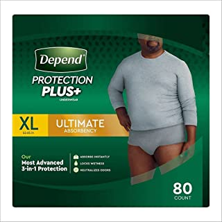 Depend Protection Plus Ultimate Underwear for Men, X-Large (80 Count)