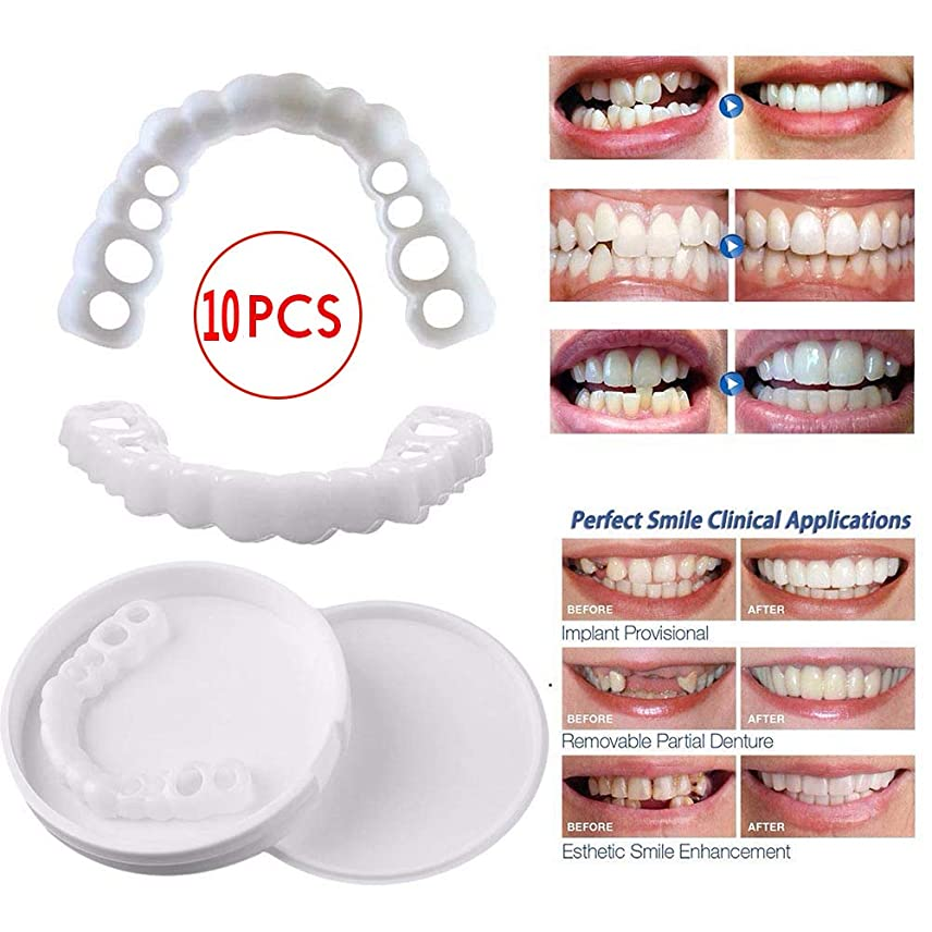 調子郵便屋さん東ティモール10個の一時的な歯のホワイトニング、歯の一時的な化粧品の歯の義歯歯の化粧品の収納ボックス付き偽の歯カバー,10pcsupperteeth