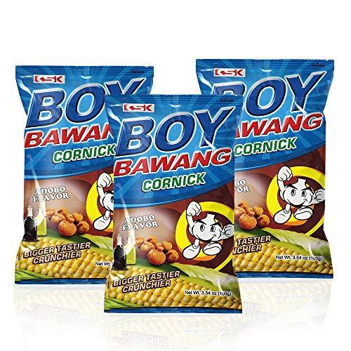 Boy Bawang Cornick, Adobo - Crispy Tasty & Gluten-Free Corn Nuts 3.54 ounces (100g), 3 Pack