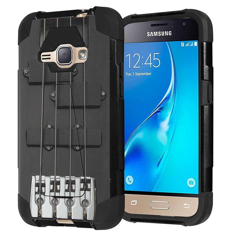 Galaxy Express 3 / Galaxy Amp 2 / Galaxy Luna / Galaxy J1 J120 Case, Capsule-Case Shockproof Kickstand Case (Black) for Samsung Galaxy Express3 / Amp2 / Luna / J1 J120- (Black Guitar)
