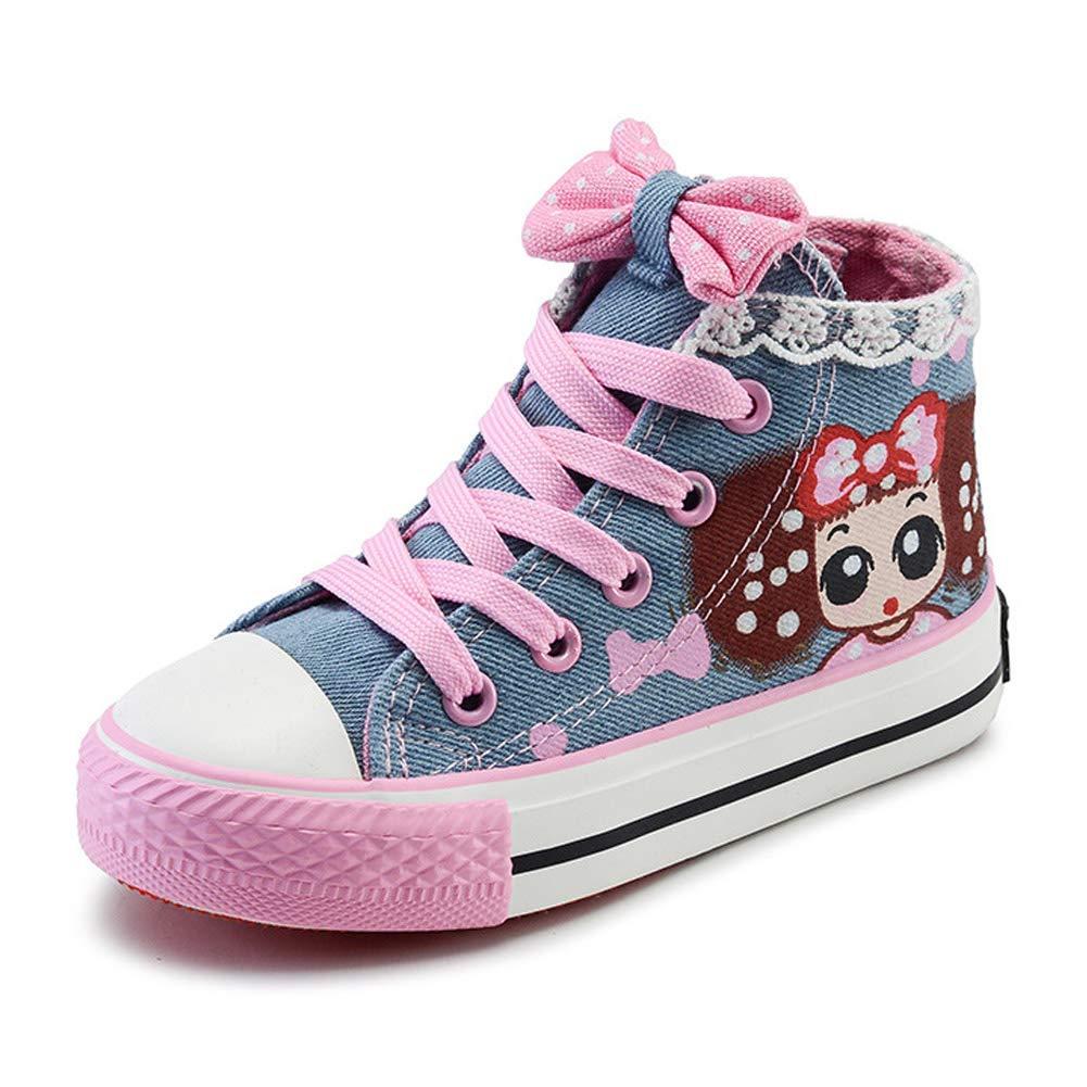 Daclay Enfants Chaussures Garçons Filles Chaussures De Toile Cartoon Princesse Chaussures Floral Dentelle Milieu Petits Enfants Cheville Chaussures Simples
